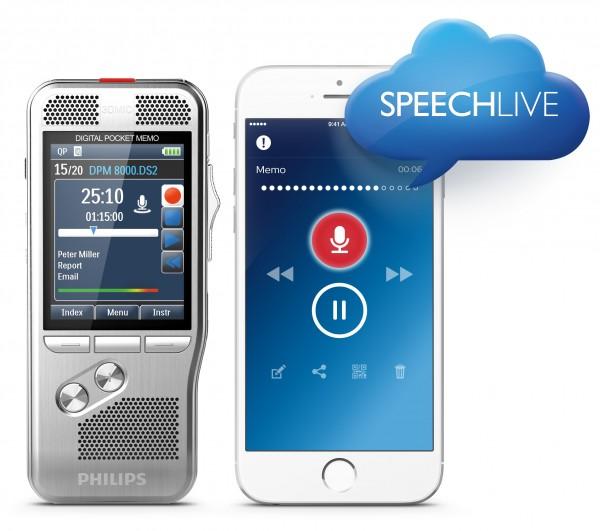 Diktiergerät DPM8000 und Diktierapp powered by SpeechLive